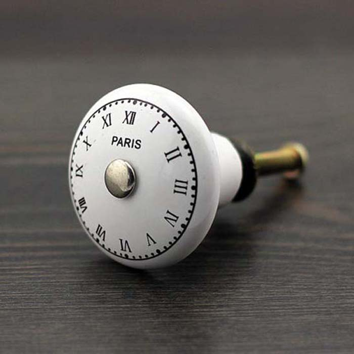 Clock Design Ceramic Cabinet Knobs Furniture Handle Drawer Pull<br><br>Aliexpress