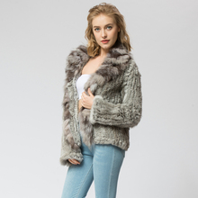 CR072-3 Knitted real rabbit fur coat overcoat jacket with fox fur collar  Russian women's winter thick warm genuine fur coat