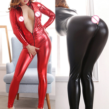 Buy Sexy Female Faux Leather Teddies Catsuit PVC Latex Bodysuit Front Zipper Open Crotch Stretch Erotic Pole Dance Lingerie