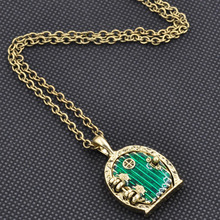Nice Charm Retro Alloy Green Door Lock Pendant Long Chain Necklace Jewelry