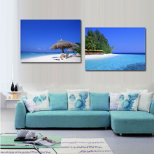 2 piece wall decor  Beach canvas art  Beach and palm tree painting  Blue canvas painting  Living room painting