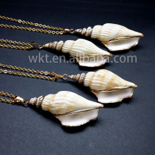 WKT wholesale trumpet shell necklace, fashion sea shell necklace with gold color