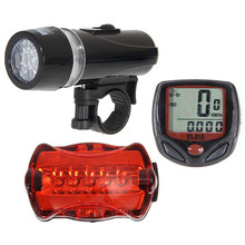 1Set Bright 5 LED Cycling Bicycle Light Set Bike Front Head Light + 5 LED Rear Safety Flashlight Tail light Lamp New