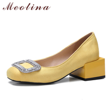 Meotina Women Shoes Block Heels Women Pumps Shallow Rhinestone Red Shoes Large Size 33-46 2017 Fall Ladies Shoes Chaussure Femme(China)