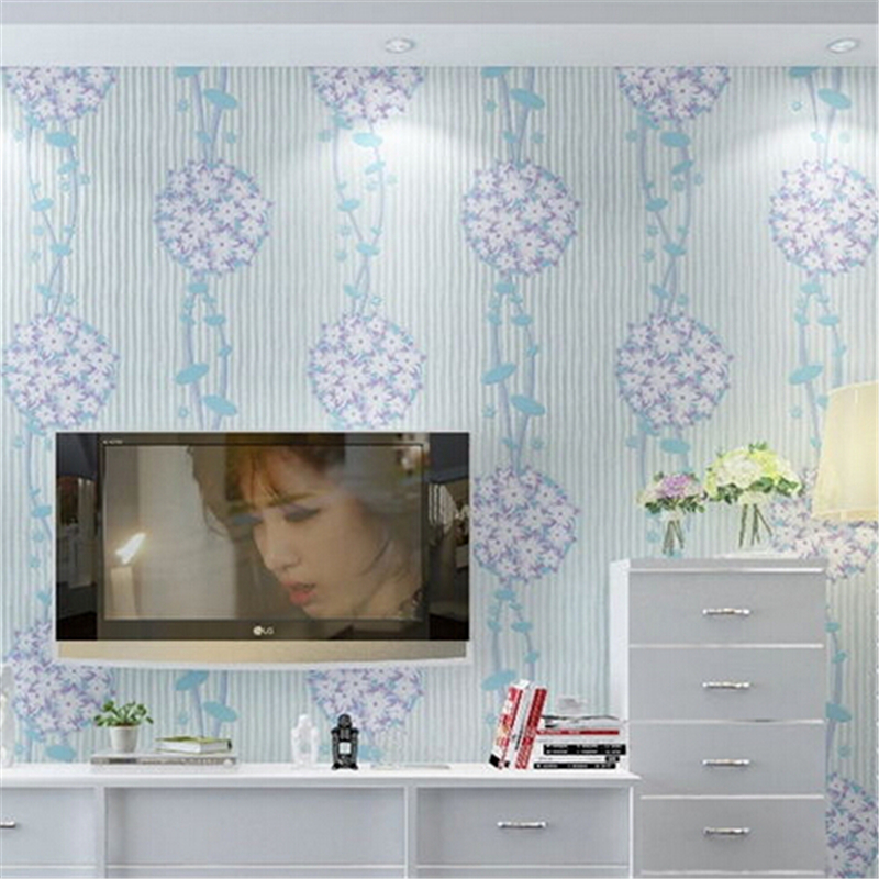 beibehang Non-woven Wallpaper floral pattern romantic design For Children Boy Girls Bedroom pink/blue wallcovering for decorati<br>