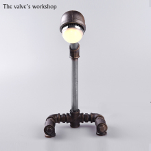 HOT Luxury Retro Loft Style Antique Vintage Desk Table Wrought iron pipe lamp Decorate Lamp DIY Handmade For Loft Cafe Bar-B006(China)