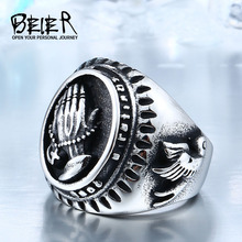 Hand Of God Ring Factory Price 316L Stainless Titanium Steel Bird Of Peace Jewelry Unique Man's Style BR8-267(China)