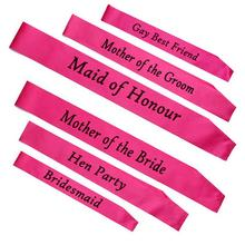 6pcs Hen Party Sash Pink Satin Black Write Hen Party Sash Hens Night Out Decoration Sash Decorative Flowers & Wreaths