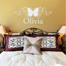 Lettering Wall Sticker Name Scroll Butterfly Wall Decal Removal Girls Sticker Decal For Girls Bedroom Factory Sales Directly