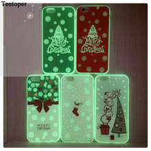 i7 i6 Merry Christmas Gift Silicone Phone Case Fundas For iPhone 7 6 6S Plus Cute Luminous Tree Socks Bell Glowing Light Cover