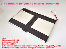Free shipping 3.7V lithium polymer batteries high capacity 8000mah 9 -inch Tablet PC battery pack 50130111(China)