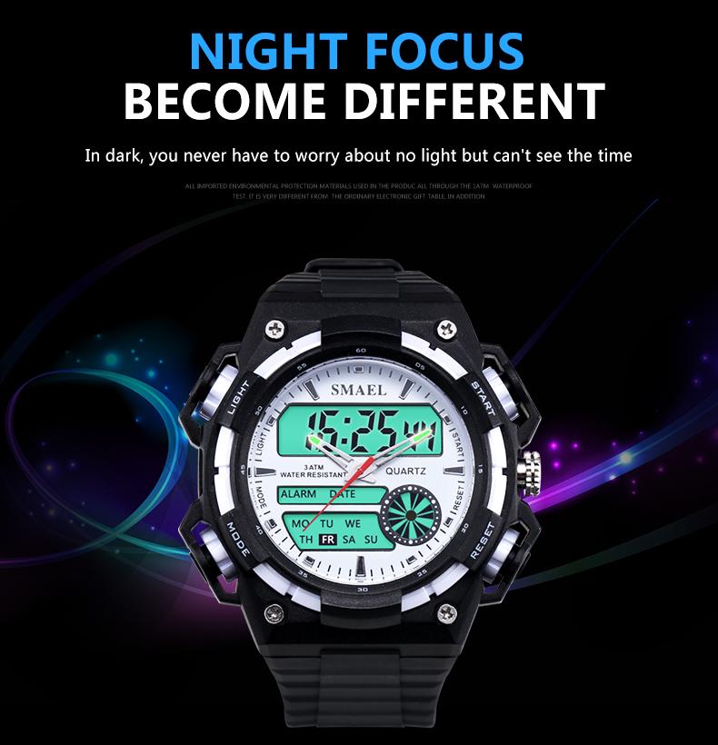 SMAELผู้ชายนาฬิกากองทัพดิจิตอลนาฬิกาสปอร์ตGสไตล์ช็อกนาฬิกาของมนุษย์1438นาฬิกาข้อมือm ontre homme LEDนาฬ... 18