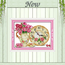 Rose flowers clock home decor painting counted print on canvas DMC 14CT 11CT chinese Cross Stitch Needlework Set Embroidery kits(China)