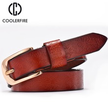2016 Belts Woman Casual Embossing Leather Ladies Belt Fashion Vintage All-Match Pin Buckle Women Belt WH002(China)