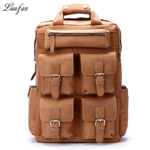 Vintage crazy horse leather backpack for men multifunction 17 inch laptop big capacity travel rucksack cowhide daypack for male(China)