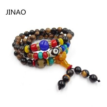 8mm Natural Stone Red Sandalwood Buddha Bead Prayer bracelet Tibetan Buddhist meditation Mala Wooden Beaded Bracelets For Unisex