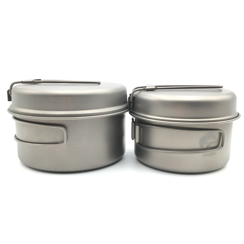 Boundless Voyage Titanium Pot set Outdoor Cookware Set Camping Pot with Titanium Pan Ti1513B/Ti1514B/Ti1515B<br>