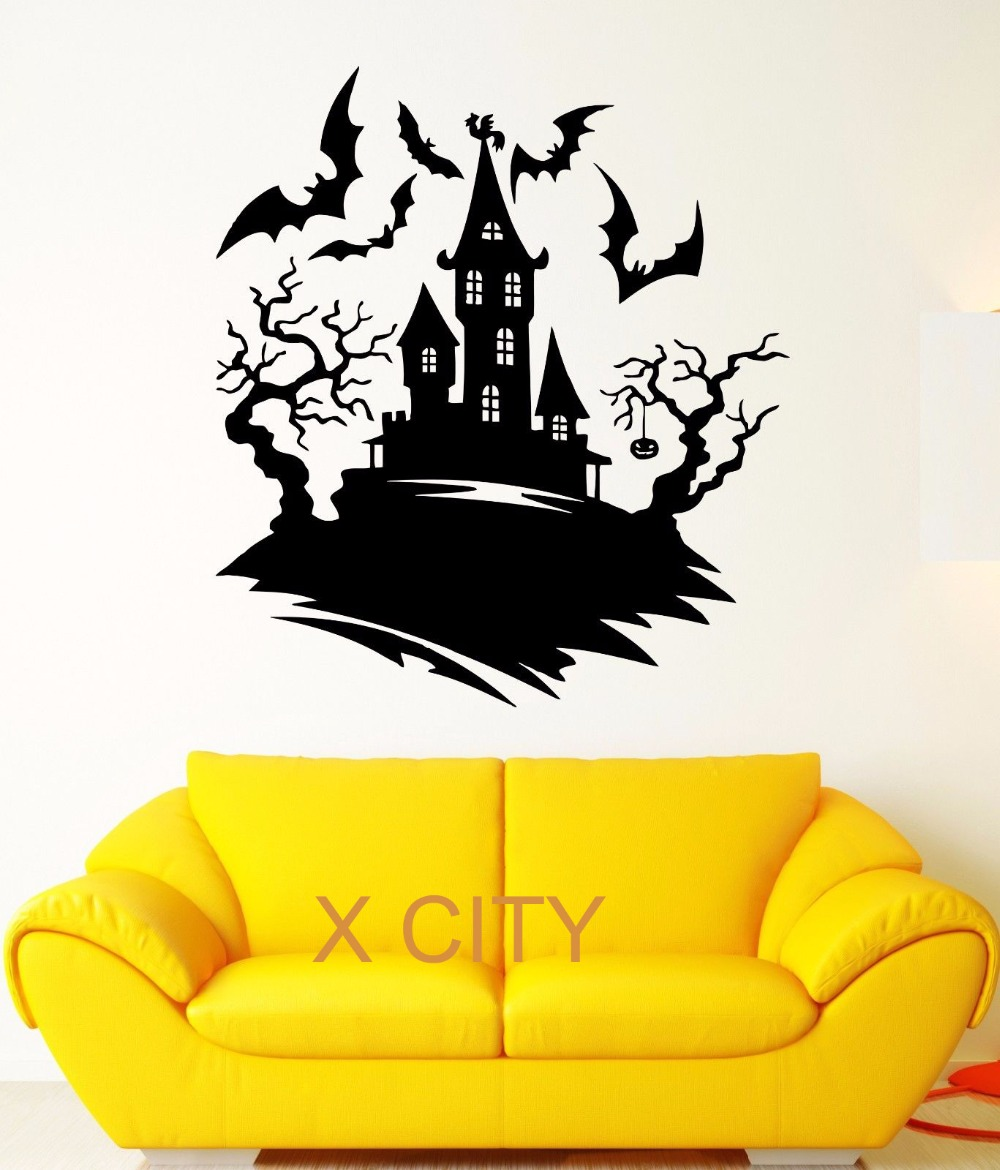 Castle wall stencil images home wall decoration ideas online get cheap mural stencils aliexpress alibaba group wall decal darkness night bats castle halloween fear amipublicfo Images