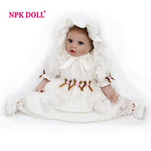 Soft Silicone Reborn Baby Dolls 22 inch Realistic Lifelike Newborn Babies For Girls White Dress Vintage Baby(China)