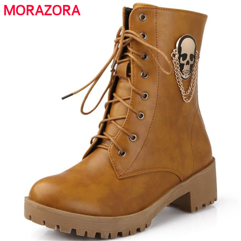 MORAZORA New hot sale autumn women fashion boots large size 34-40 skull street  round toe  lace-up ankle boots<br>