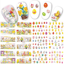 12 Designs/Sets Easter Egg Rabbit Colorful Sticker Nail Art Water Transfer Tattoos DIY Nail Sticker Mixed Decals BN541-552