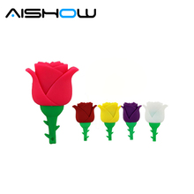 Beauty Rose Design Valentine Gift Silicone USB Flash Drive USB 2.0 Memory Stick1GB 2GB 4GB 8GB 16GB 32GB Pen Drive Hub(China)
