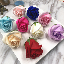 10Pcs 4*5cm Creative Gradient simulation rose Soap flower purple pink red blue Creative small gift box flowers(China)