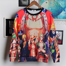 New winter Harajuku cartoon 3D sweatshirt jumper Japanese anime One Piece character Monkey D. Luffy hoodies pullovers outerwear