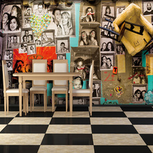 Free Shipping Europe United States nostalgic characters puzzle retro 3D photo wall painting bedroom living room mural wallpaper