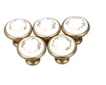 Antique Brass Ceramic Drawer Pulls Single Hole Furniture Knobs Cupaboard Cabinet Wardrobe Pull Handle(China)