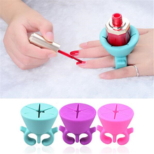 1pcs Nail Art Finger Ring Style Gel Polish Varnish Wearable Flexible Silicone Holder Stand Support Manicure Tools