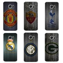 For Samsung Galaxy J3 J5 J7 2016 Phone Case S4 S6 S7 Edge Plus Shell C5 C7 Transparent Cover Soft Silicon Wood Football Pattern