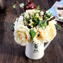 1Bouquet Vivid Artificial Rose&African Daisy Posy Decorative Silk Flowers Simulation Fake Plants Wedding Home Decoration(vase)
