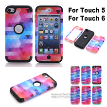New Multi Colors Impact Hard & Soft Silicone 3 Layers Hybrid Shockproof Case Cover For iPod Touch 5 Touch 6 5th/6th Generation