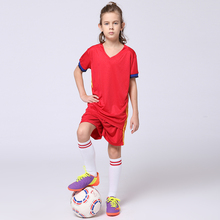2017 Newest Boys and Girls Blank Football Jersey+Shorts Suits DIY Customized Youth Kids Survetement Football Soccer Jerseys Sets