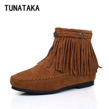 Women's Fashion Fringed Flat Ankle Boots Comfy Booties Shoes Red Black Brown Yellow