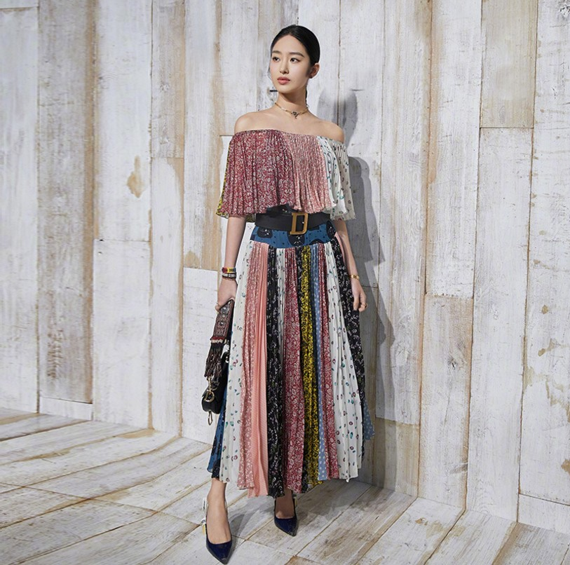High quality runway designer dress 2019 women summer sexy off shoulder printed chiffon dress bohemian midi dress female ( E6)