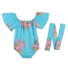 2 Pcs Infant Baby Girls Clothes Set Flower Printed Short Sleeve Jumpsuit Rompers+Hair Band Outfits K16 2017