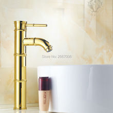 Free shipping Discount Gold Faucet Bathroom Basin Mixer Crane High Polished Faucet water tap bathroom Bamboo mixer Faucet ZR438