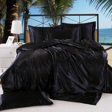 1Pcs Duvet cover Solid color satin silk Single Double Queen King Quilt Cover Advanced Home Bed Soft Qualified Comfortable(China)