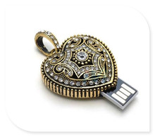 Diamond crystal heart USB 2.0 usb flash drives thumb pendrive u disk usb creativo memory stick 4GB-64GB S124
