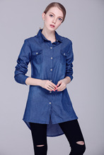 Korean version new Front short Rear long sexy long denim shirt large size female cowboy jacket(China)
