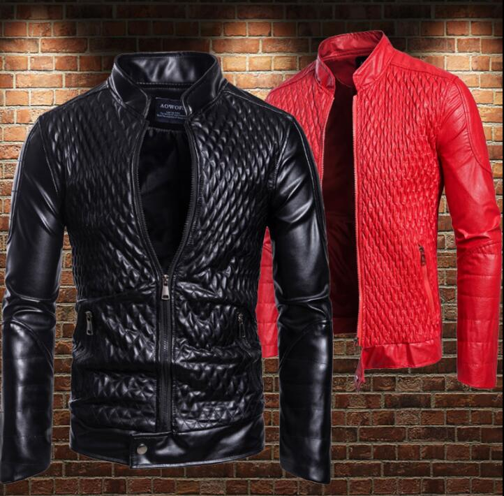 Loose motorcycle leather jacket men Rhombus pattern line Jacquard stereo clothes mens leather jackets casual coats stand collar