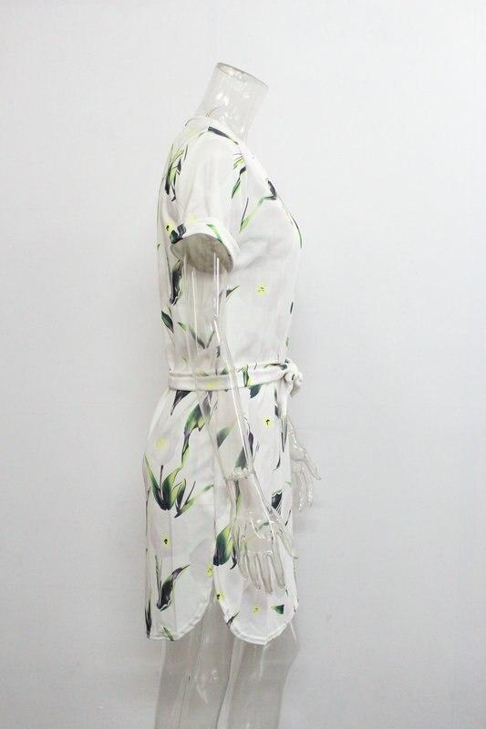 2018 Spring Summer Printed Women Dress O-Neck Hem Side Split Ladies Dresses Tie Sashes Short Sleeve Casual Sexy Female Vestidos 26