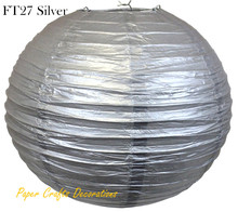 8pcs/lot 35cm (14inch) Silver Chinese Round Rice Paper Lanterns lampions Balls Hanging Wedding Celebrations Parties