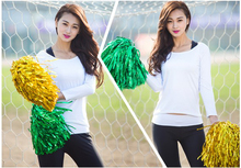 10Pcs/lot Match Cheering Pompom Cheerleader Football Cheerleaders Pom Poms Bouquet Handle Baton Handle Sports Flower 25G
