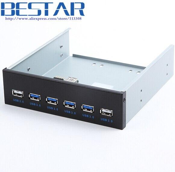 4 Ports USB 3.0 + 2 Ports USB 2.0 Desktop Computer Front Panel Optical Drives Expansion USB3.0 CD-ROM Bracket Mount HUB Bay<br>