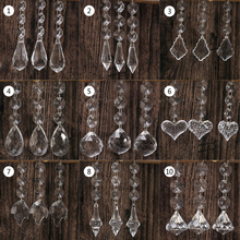 10pcs Acrylic Crystal Beads Drop Shape Garland Chandelier Hanging Party Decor Wedding Decoration Centerpieces For Tables(China)