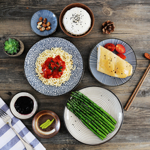 6pcs/set Japanese Traditional Style Ceramic Dinner Plates Porcelain Dishes Saucer plate Sushi plate Rice Noddle Bowl Dinnerware
