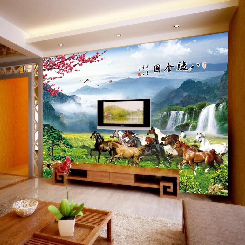 3D large mural custom wall paper horse mural bedroom living room TV background wallpaper non-woven fabric wallpaper Videos<br><br>Aliexpress